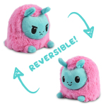 Reversible Llama Plushie featuring an angry pink and aqua llama plushie that flips into a happy pink and aqua llama plushie.