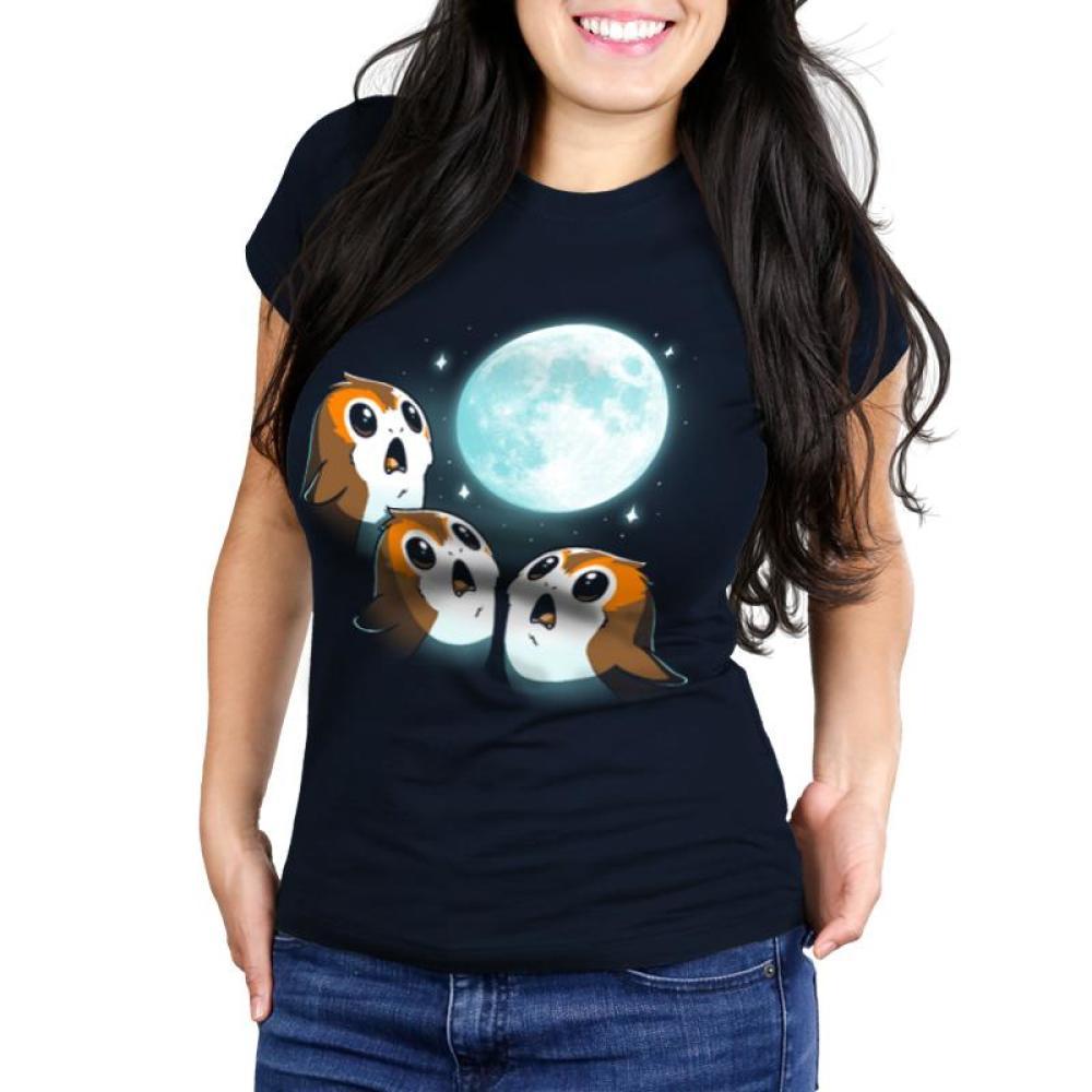 3 Porg Moon Juniors T-Shirt Model Star Wars TeeTurtle