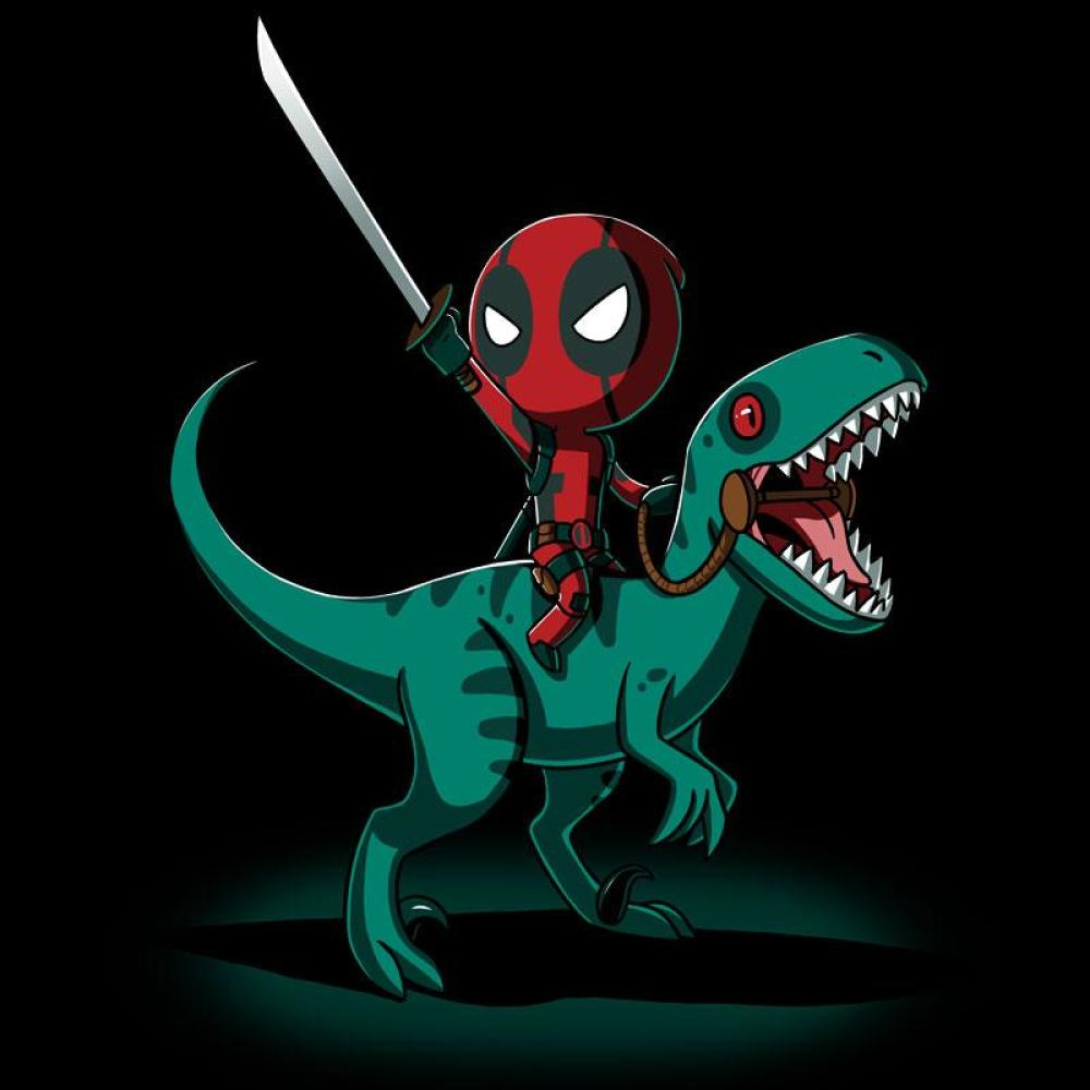 Deadpool on a Raptor! T-Shirt Marvel TeeTurtle
