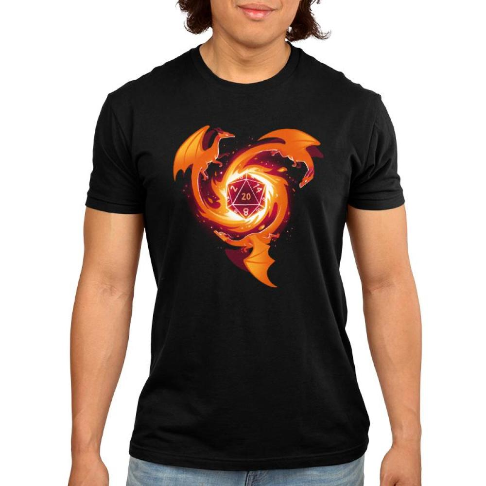 A Dragon Appears Men's T-Shirt Model TeeTurtle black t-shirt with three orange-red dragons circling around a die block