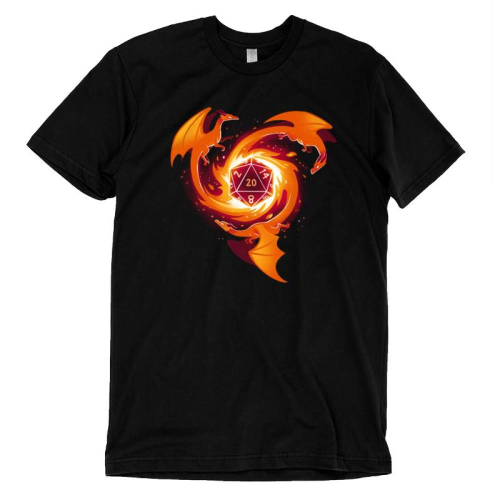 A Dragon Appears T-Shirt TeeTurtle black t-shirt with three orange-red dragons circling around a die block