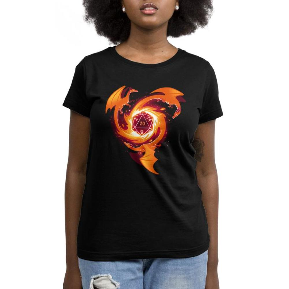 A Dragon Appears Women's T-Shirt Model TeeTurtle black t-shirt with three orange-red dragons circling around a die block