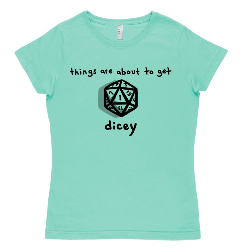 About to Get Dicey T-shirt TeeTurtle Chill Blue t-shirt featuring a game die with shirt text
