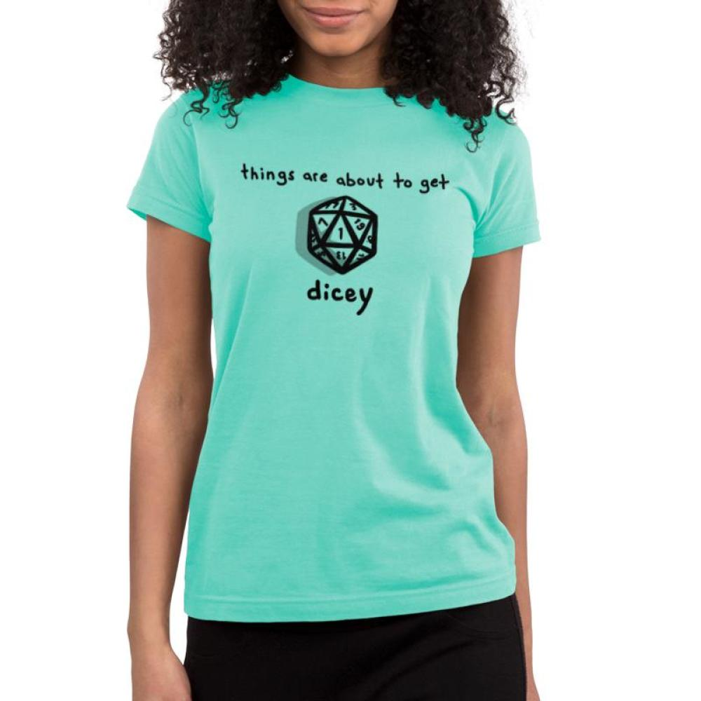 About to Get Dicey Juniors T-shirt Model TeeTurtle Chill Blue t-shirt featuring a game die with shirt text