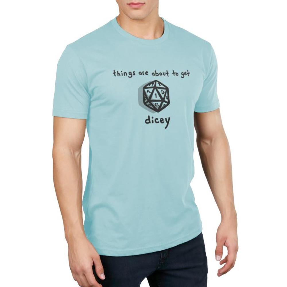 About to Get Dicey Men's T-shirt Model TeeTurtle Light Blue t-shirt featuring a game die with shirt text