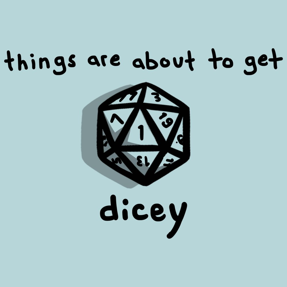 About to Get Dicey T-shirt TeeTurtle Light Blue t-shirt featuring a game die with shirt text