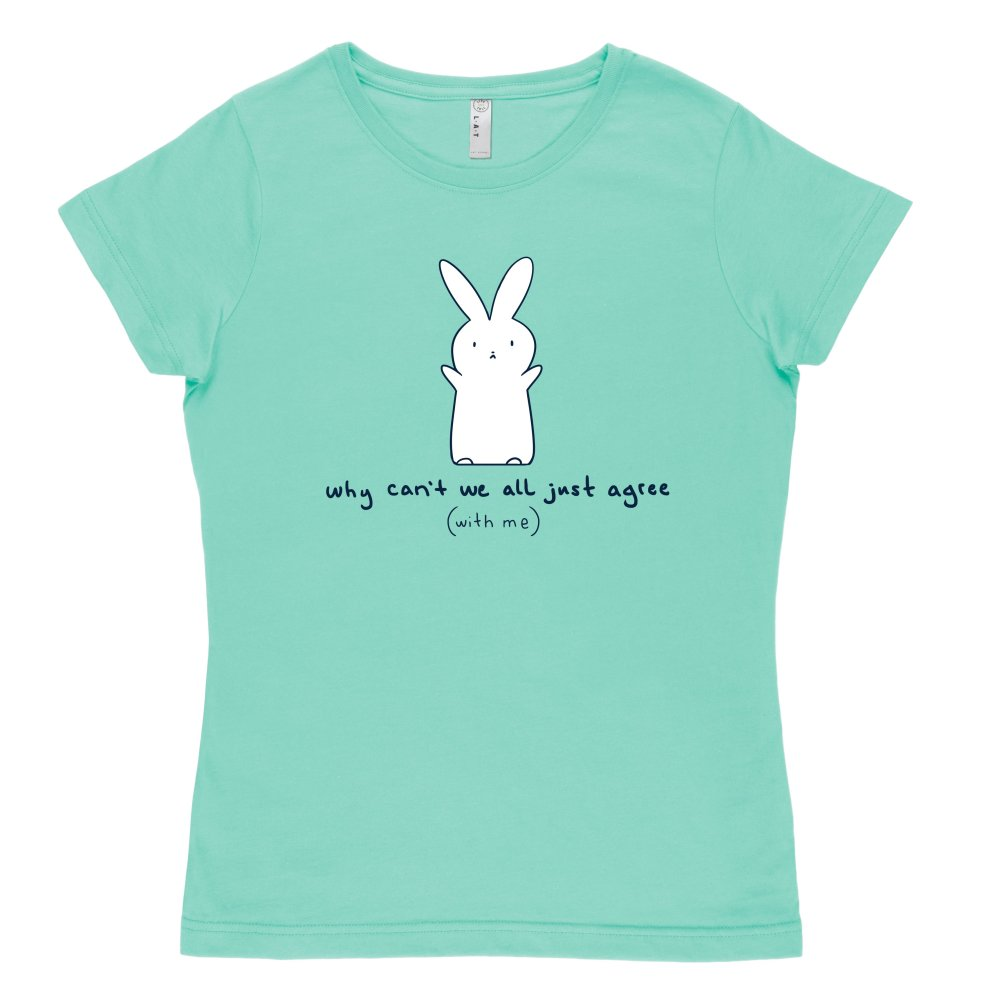 Agree With Me T-shirt TeeTurtle Chill Blue T-shirt featuring a bunny holding his arms up with shirt text