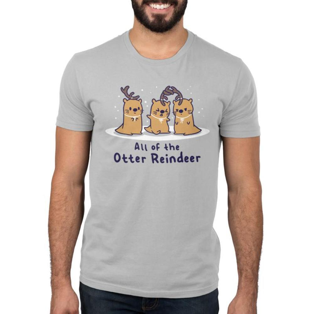 All of the Otter Reindeer Men's T-Shirt Model TeeTurtle gray t-shirt with three brown otters wearing antlers on their heads with snow falling around them with shirt text