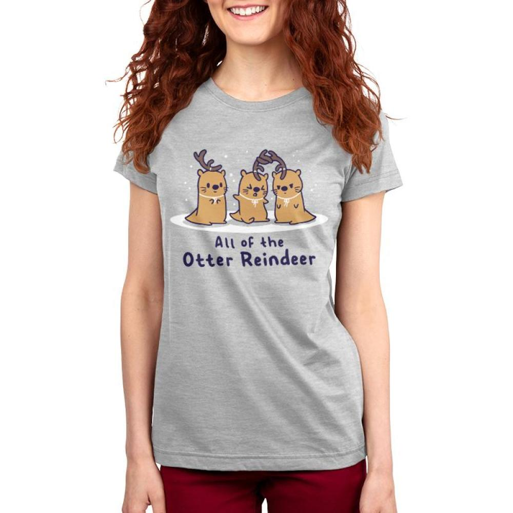 All of the Otter Reindeer Women's T-Shirt Model TeeTurtle gray t-shirt with three brown otters wearing antlers on their heads with snow falling around them with shirt text