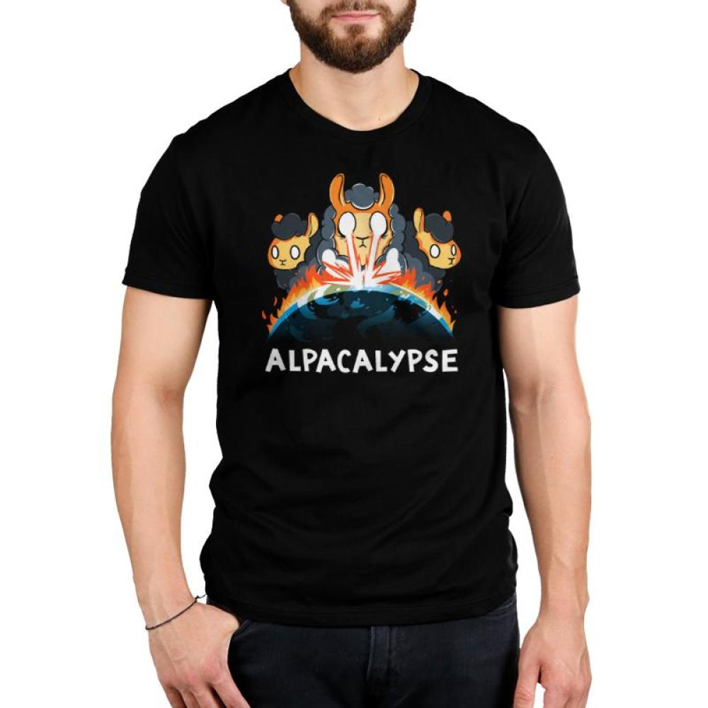 Alpacalypse Men's T-Shirt Model TeeTurtle black t-shirt featuring an alpaca shooting fire at the earth catching the earth on fire with two other alpacas behind him with shirt text