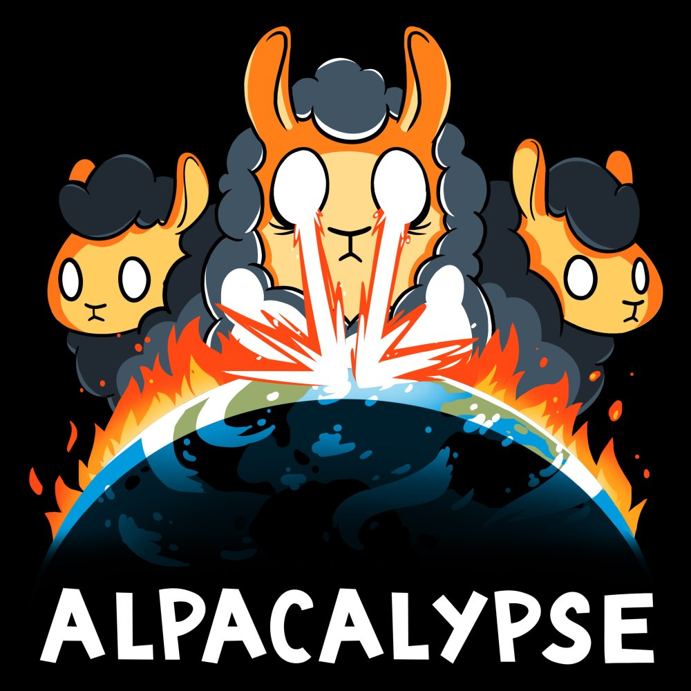 Alpacalypse T-Shirt TeeTurtle black t-shirt featuring an alpaca shooting fire at the earth catching the earth on fire with two other alpacas behind him with shirt text