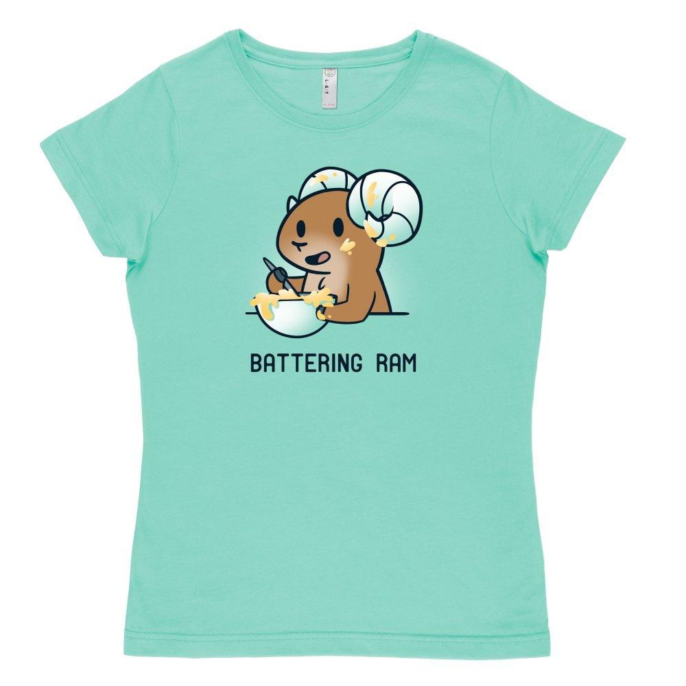 Battering Ram T-shirt TeeTurtle light blue t-shirt featuring a ram stirring up a bowl of batter