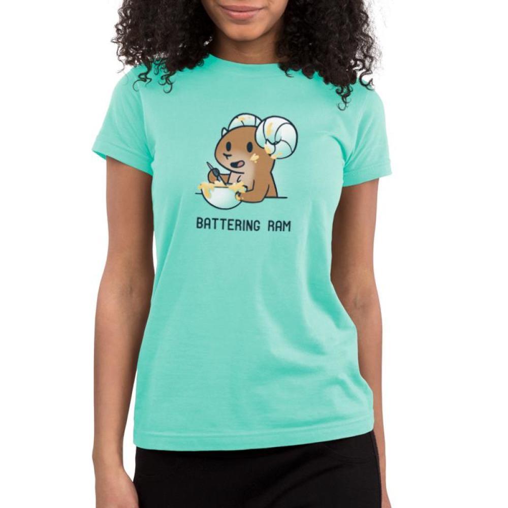 Battering Ram Juniors T-shirt model TeeTurtle light blue t-shirt featuring a ram stirring up a bowl of batter