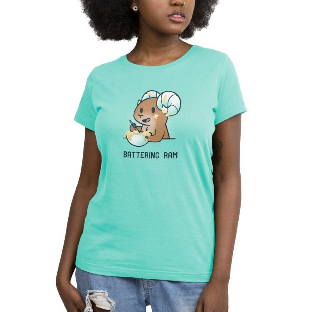 Battering Ram Women's T-shirt model TeeTurtle light blue t-shirt featuring a ram stirring up a bowl of batter