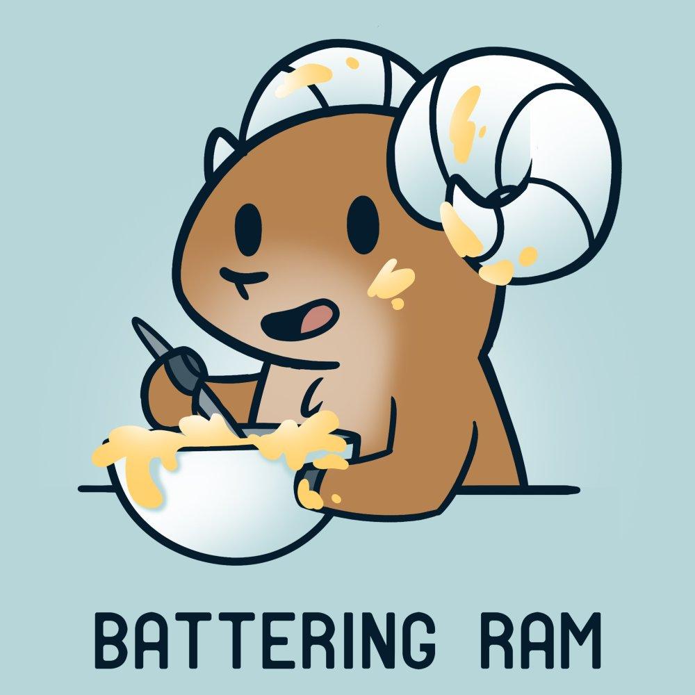 Battering Ram T-shirt TeeTurtle chill blue t-shirt featuring a ram stirring up a bowl of batter