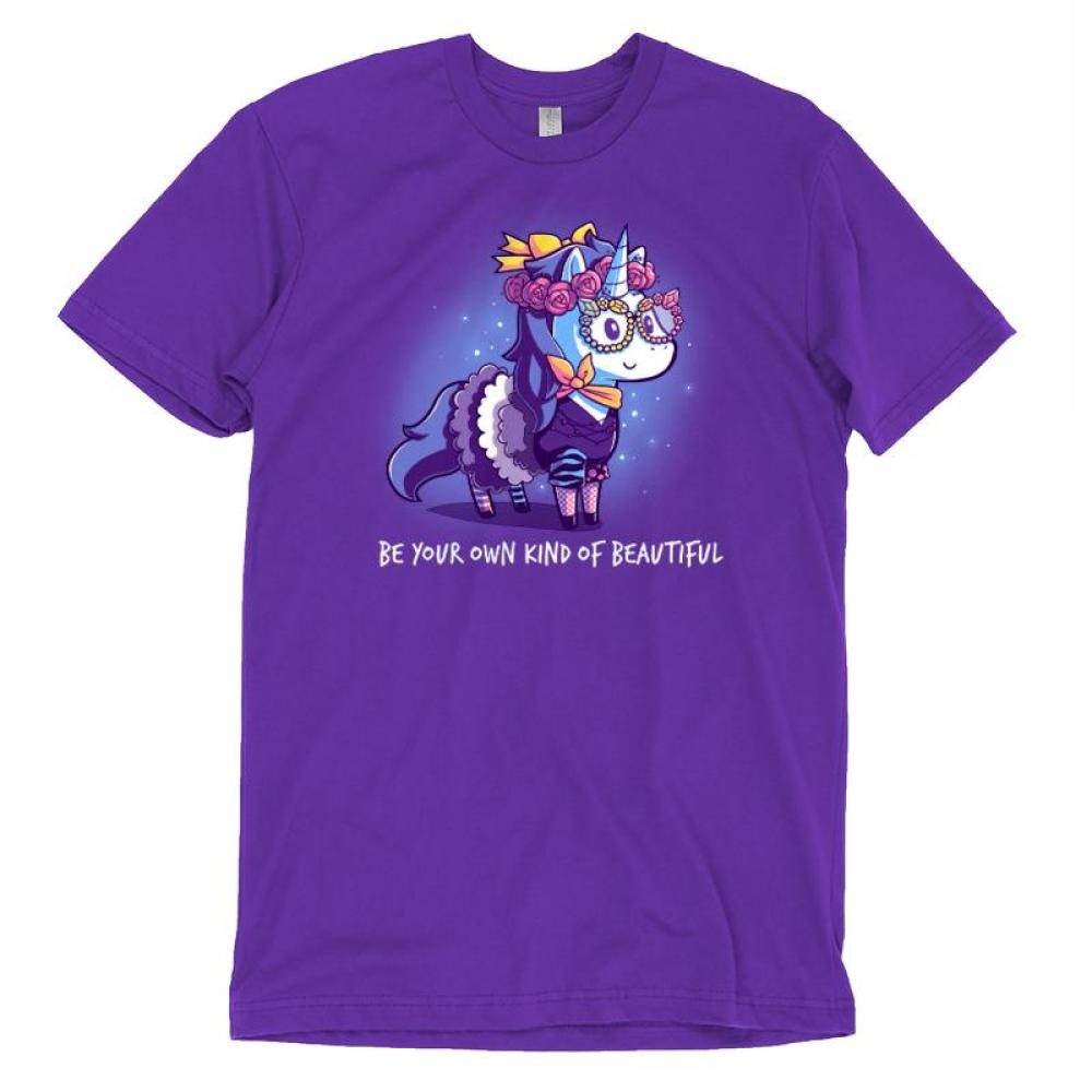 Be Your Own Kind of Beautiful T-Shirt TeeTurtle Purple t-shirt with a unicorn wearing glasses, a flower crown, and eccentric clothing with shirt text