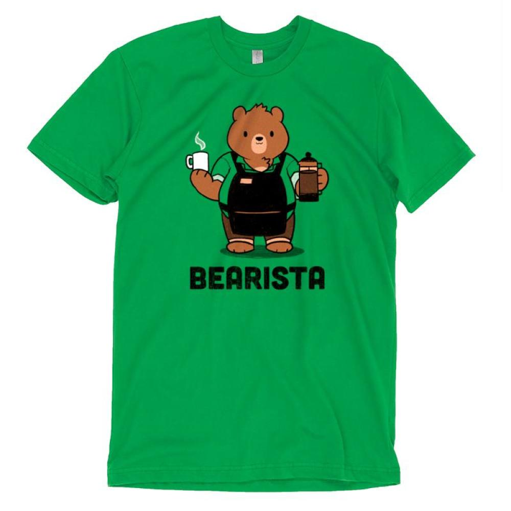 Bearista Men's T-Shirt model TeeTurtle green t-shirt with a bear in an apron holding a cup of coffee and a coffee dispenser with shirt text