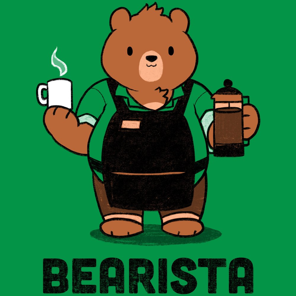 Bearista T-Shirt TeeTurtle green t-shirt with a bear in an apron holding a cup of coffee and a coffee dispenser with shirt text