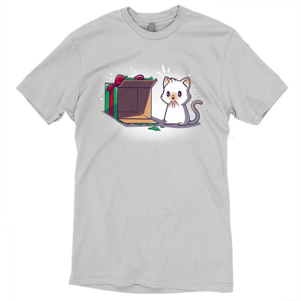 Best Present Ever T-Shirt TeeTurtle gray t-shirt with an excited white cat looking at an empty Christmas present box as if he is excited to climb into it