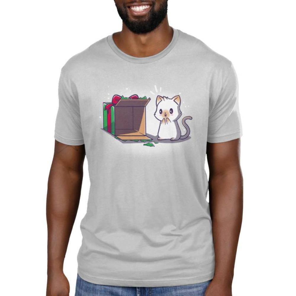 Best Present Ever Men's T-Shirt Model TeeTurtle gray t-shirt with an excited white cat looking at an empty Christmas present box as if he is excited to climb into it