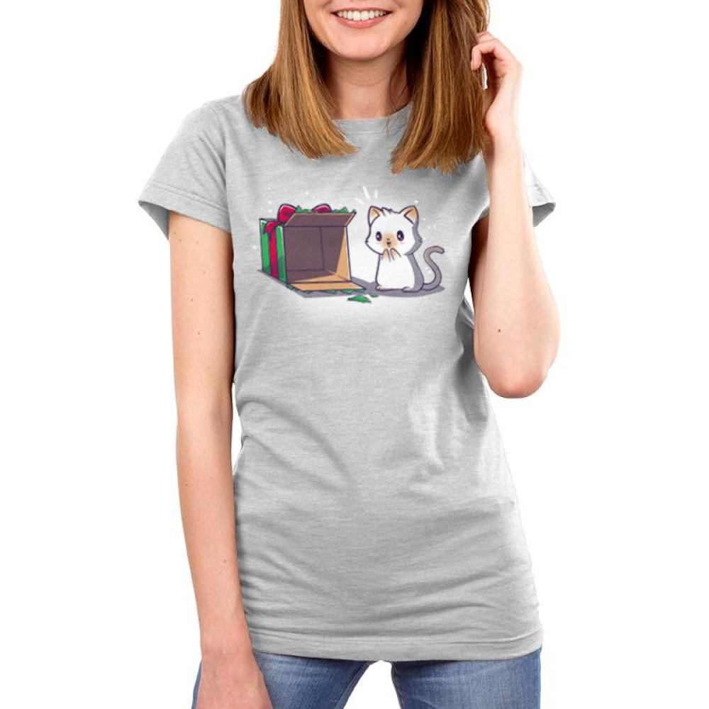Best Present Ever Juniors T-Shirt Model TeeTurtle gray t-shirt with an excited white cat looking at an empty Christmas present box as if he is excited to climb into it