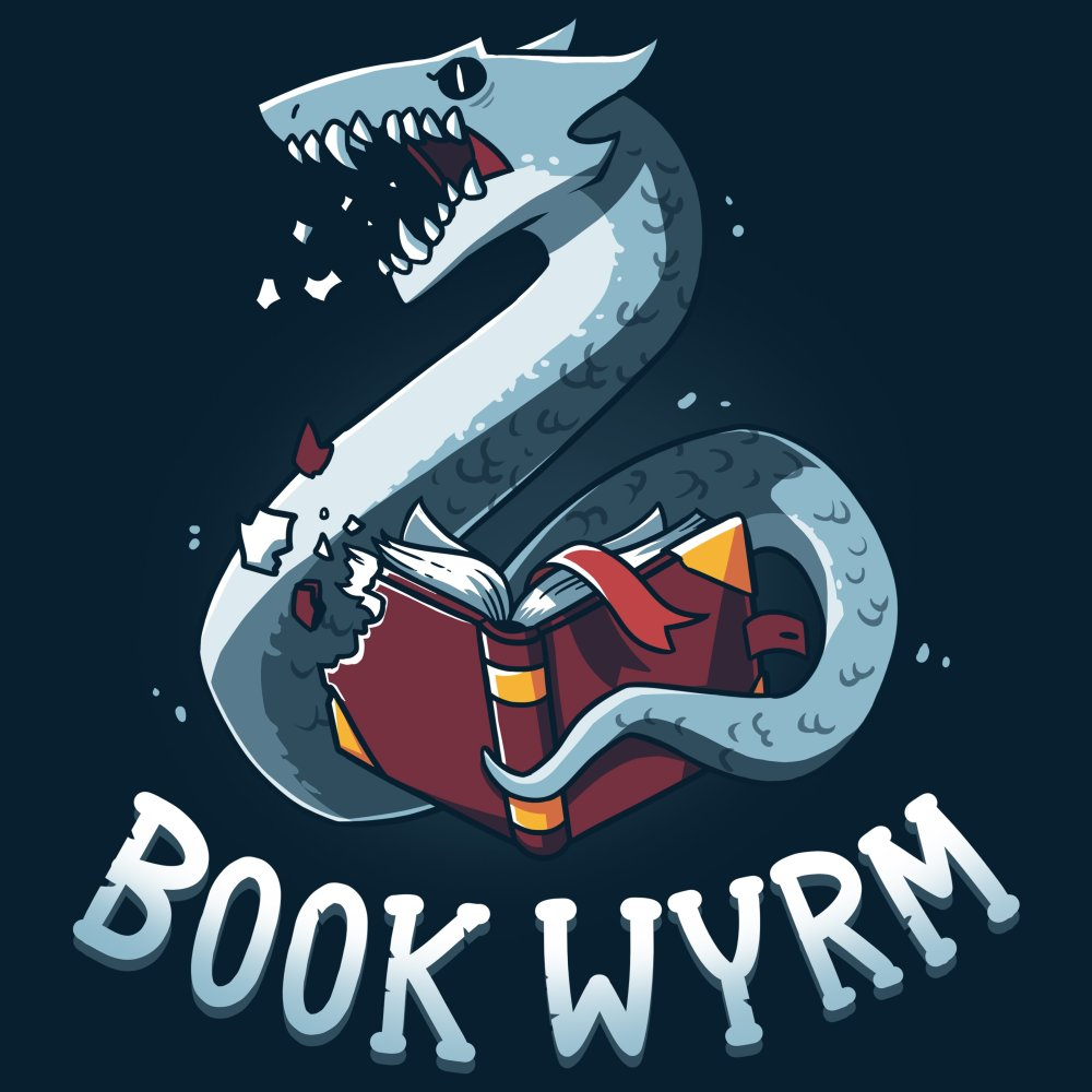 Book Wyrm T-shirt TeeTurtle Blue t-shirt featuring a dragon-like/worm creature ripping through a book with a mean look on his face