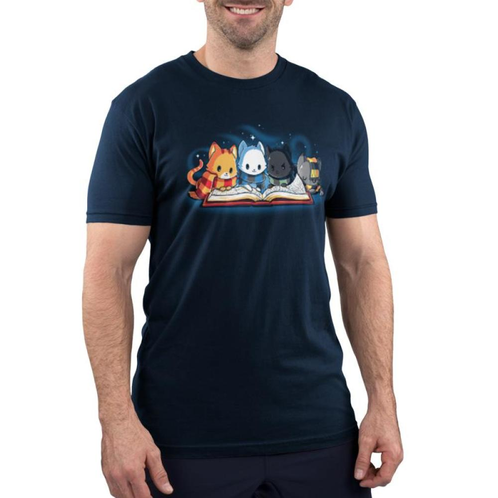 Books are Magic Men's T-Shirt Model TeeTurtle Blue t-shirt featuring 4 different colored cats reading a book with sparkles behind them