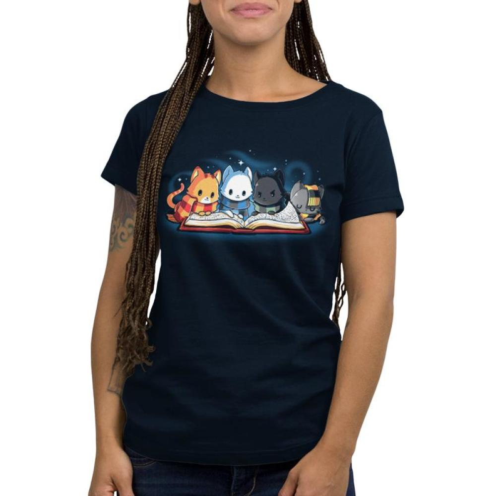 Books are Magic Women's T-Shirt Model TeeTurtle Blue t-shirt featuring 4 different colored cats reading a book with sparkles behind them