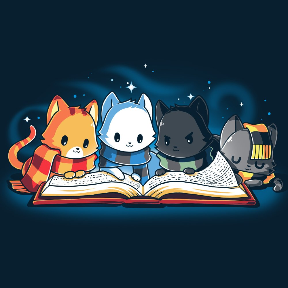 Books are Magic T-Shirt TeeTurtle Blue t-shirt featuring 4 different colored cats reading a book with sparkles behind them