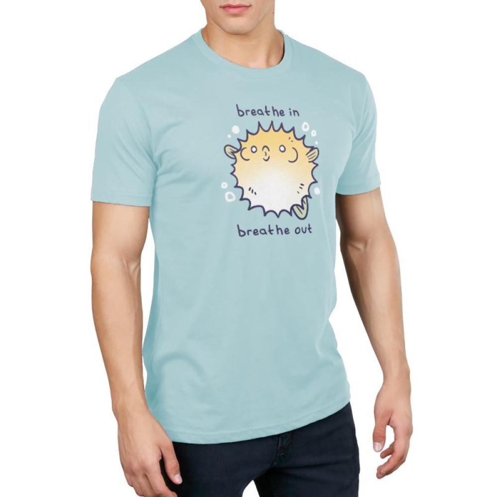 Breathe In, Breathe Out Men's T-shirt Model TeeTurtle light blue t-shirt featuring an anxious looking pufferfish with shirt text