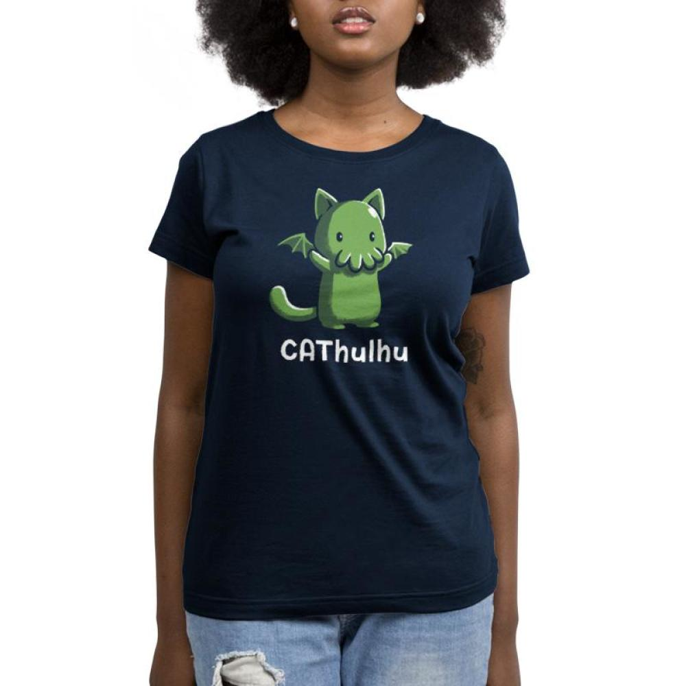 CAThulhu Women's T-Shirt model TeeTurtle black t-shirt featuring the green sea monster Cthulhu in the form of a cat