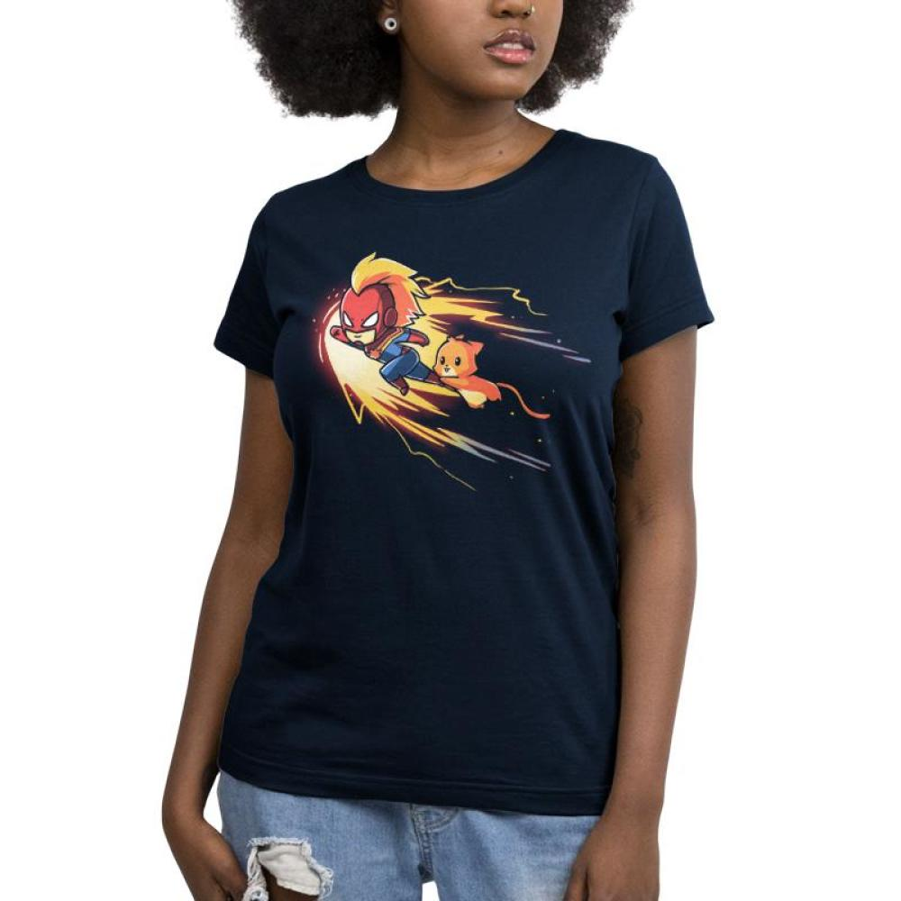 Captain Marvel and Chewie Juniors T-shirt Model Marvel TeeTurtle blue t-shirt featuring Captain Marvel and Chewie flying through space