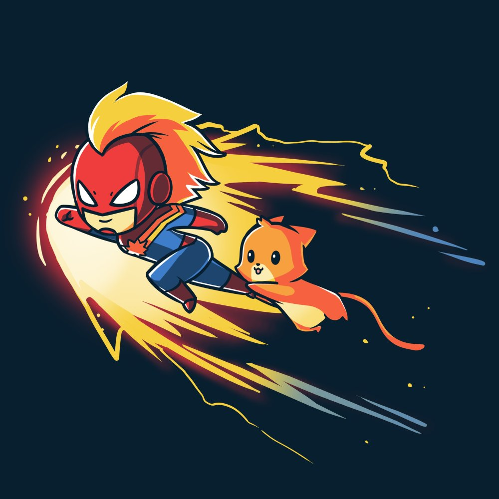 Captain Marvel and Chewie T-shirt Marvel TeeTurtle blue t-shirt featuring Captain Marvel and Chewie flying through space