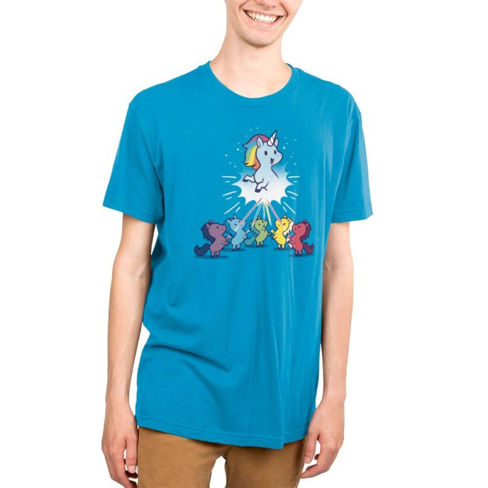 Captain Unicorn Men's T-Shirt Model TeeTurtle blue t-shirt featuring a blue unicorn with a rainbow mane up in the sky while several other colorful unicorns look up at it in awe