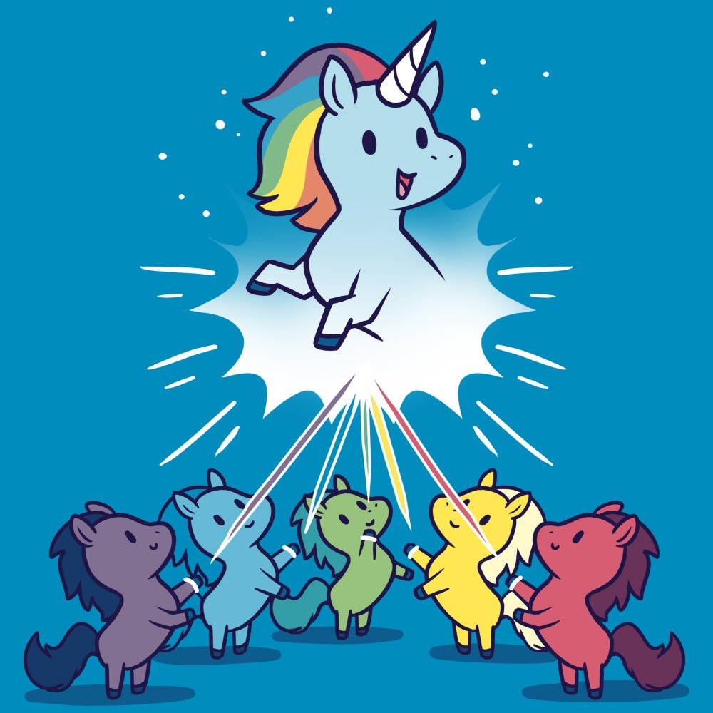 b2f95cd8080 Captain Unicorn T-Shirt TeeTurtle blue t-shirt featuring a blue unicorn  with a