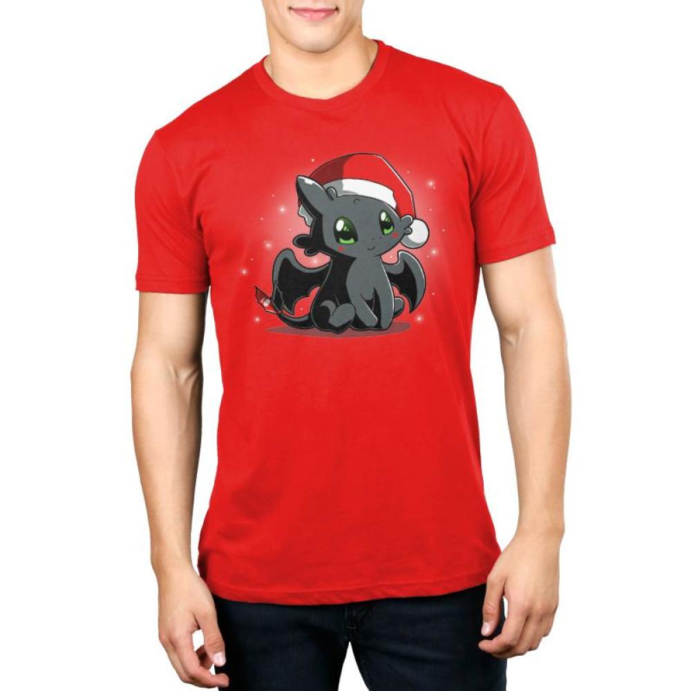 Christmas Toothless Men's T-Shirt model TeeTurtle red t-shirt with Toothless wearing a Santa hat with white sparkles/snowflakes in the background