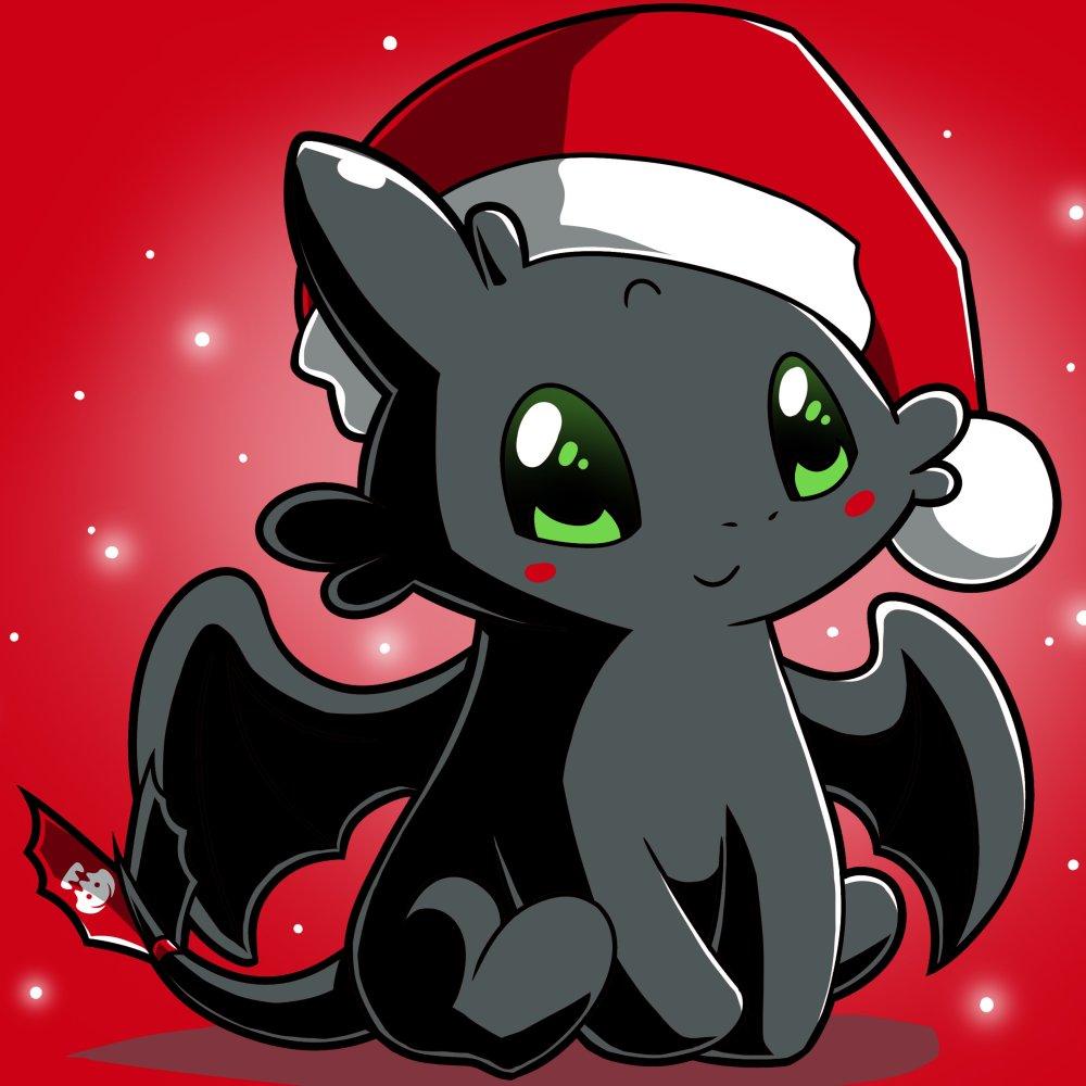Christmas Toothless T-Shirt TeeTurtle red t-shirt with Toothless wearing a Santa hat with white sparkles/snowflakes in the background