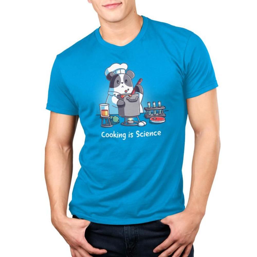 Cooking is Science Men's t-shirt Model TeeTurtle blue t-shirt featuring a panda wearing a chef's outfit cooking while different science tools are around him with shirt text