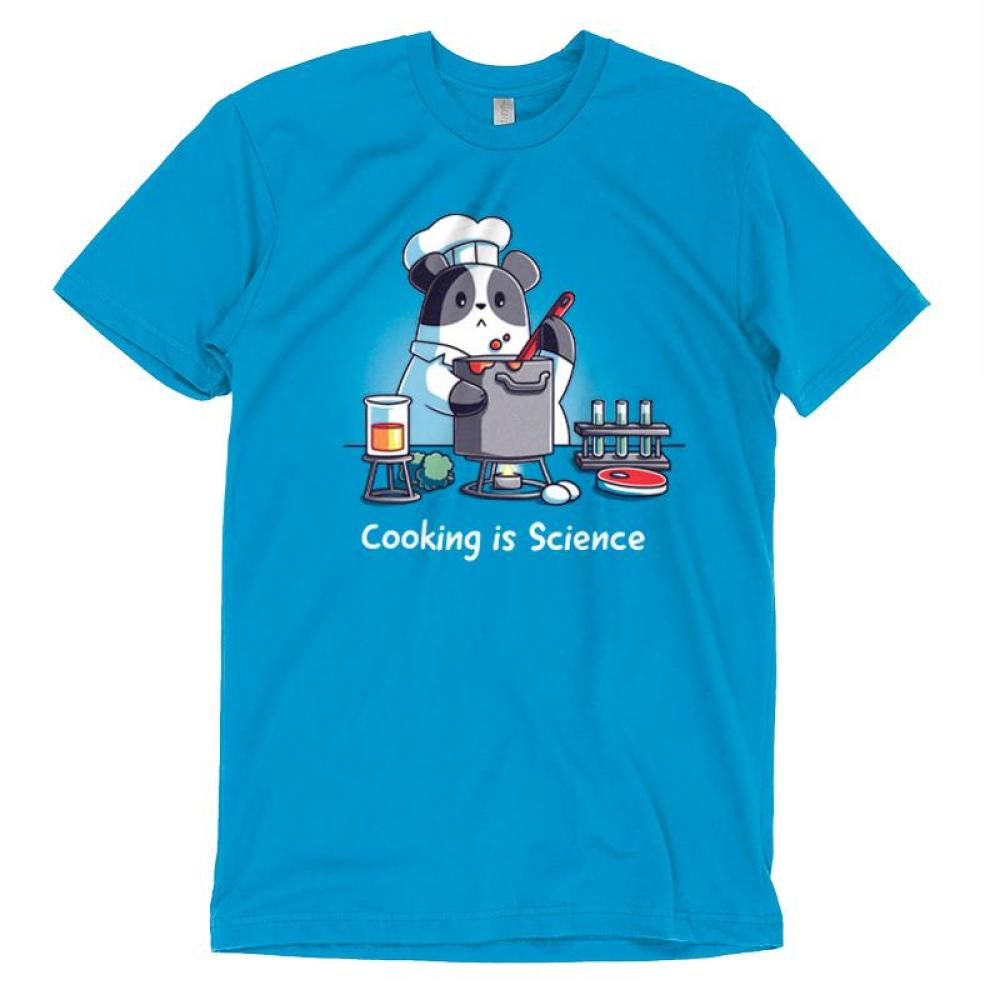 Cooking is Science t-shirt TeeTurtle blue t-shirt featuring a panda wearing a chef's outfit cooking while different science tools are around him with shirt text