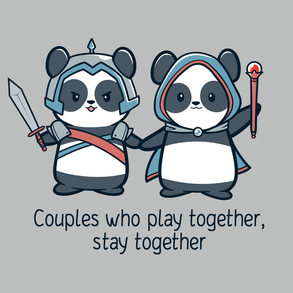 Couples Who Play Together Stay Together T-shirt TeeTurtle gray t-shirt featuring two pandas holding hands and wearing gaming outfits while carrying a sword or scepter with shirt text
