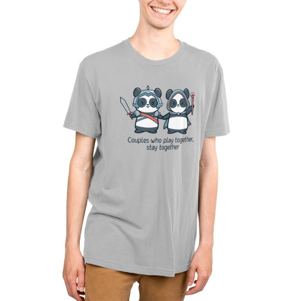 Couples Who Play Together Stay Together Men's T-shirt model TeeTurtle gray t-shirt featuring two pandas holding hands and wearing gaming outfits while carrying a sword or scepter with shirt text