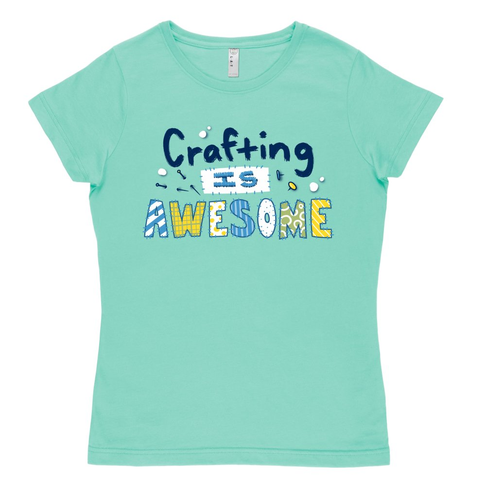 Crafting is Awesome T-shirt TeeTurtle Chill Blue t-shirt featuring the text