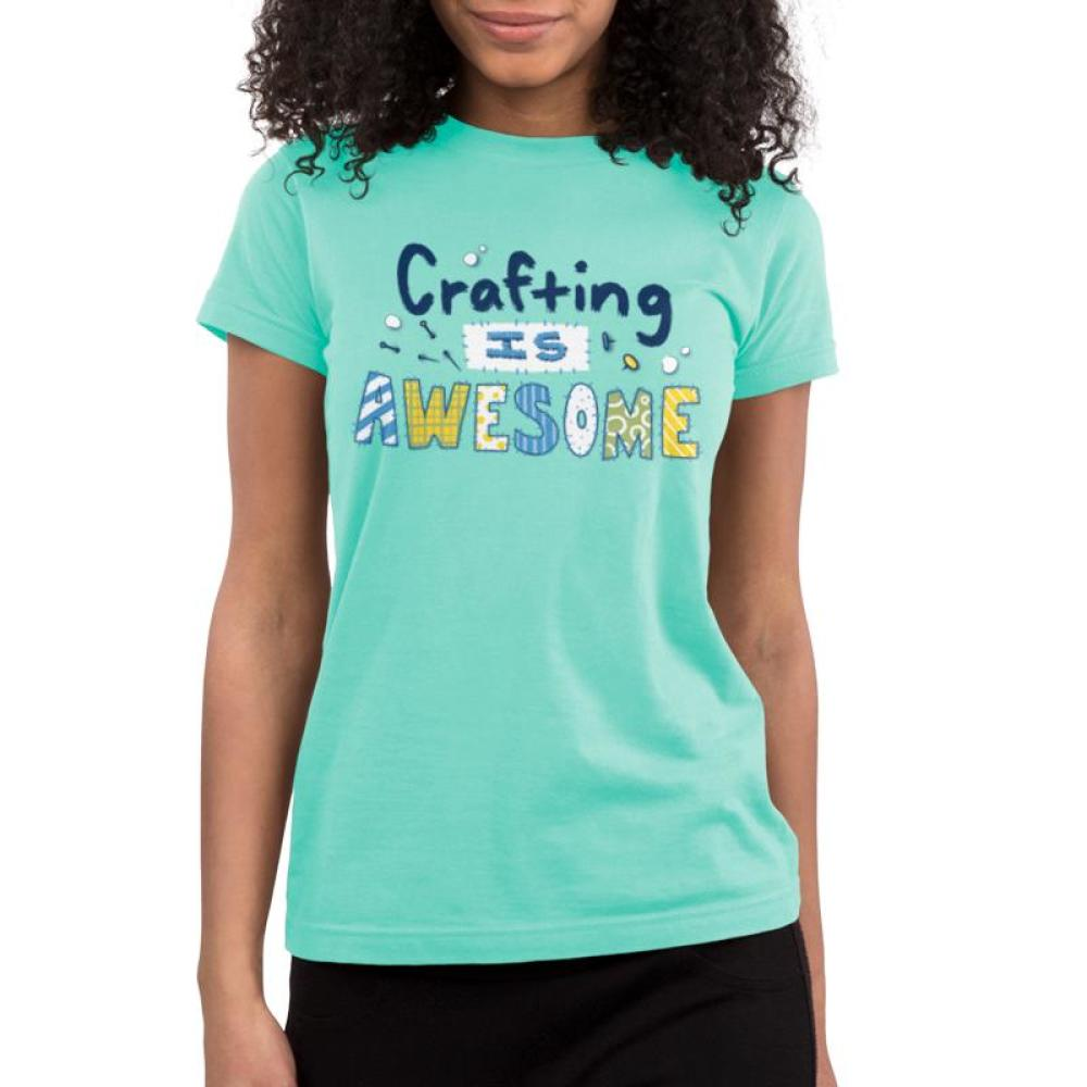 Crafting is Awesome Juniors T-shirt Model TeeTurtle Light Blue t-shirt featuring the text
