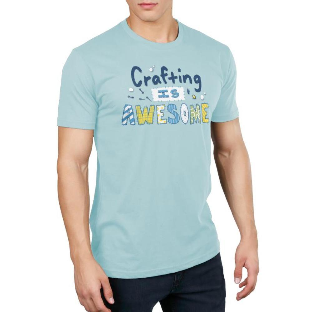 Crafting is Awesome Men's T-shirt Model TeeTurtle Light Blue t-shirt featuring the text