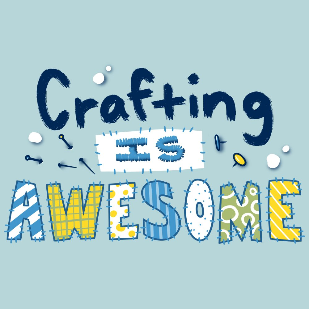 Crafting is Awesome T-shirt TeeTurtle Light Blue t-shirt featuring the text