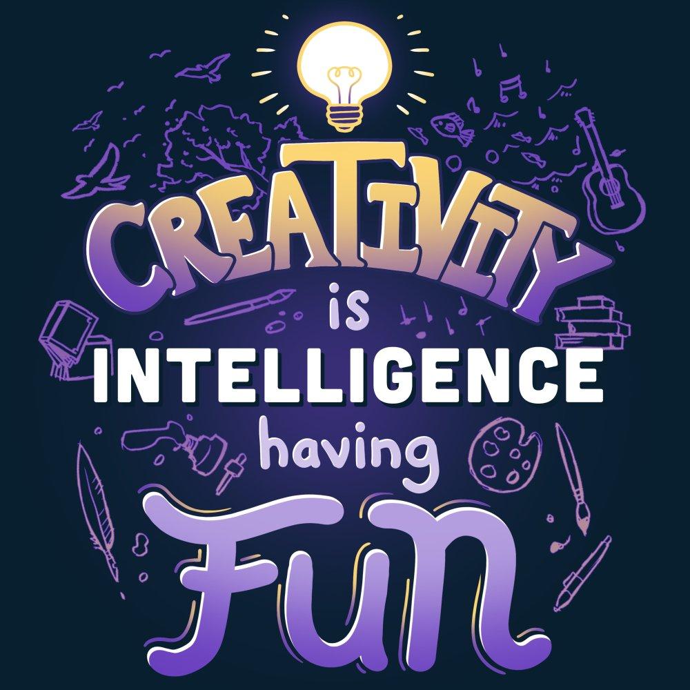 Creativity is Intelligence having Fun T-Shirt TeeTurtle black t-shirt with shirt text
