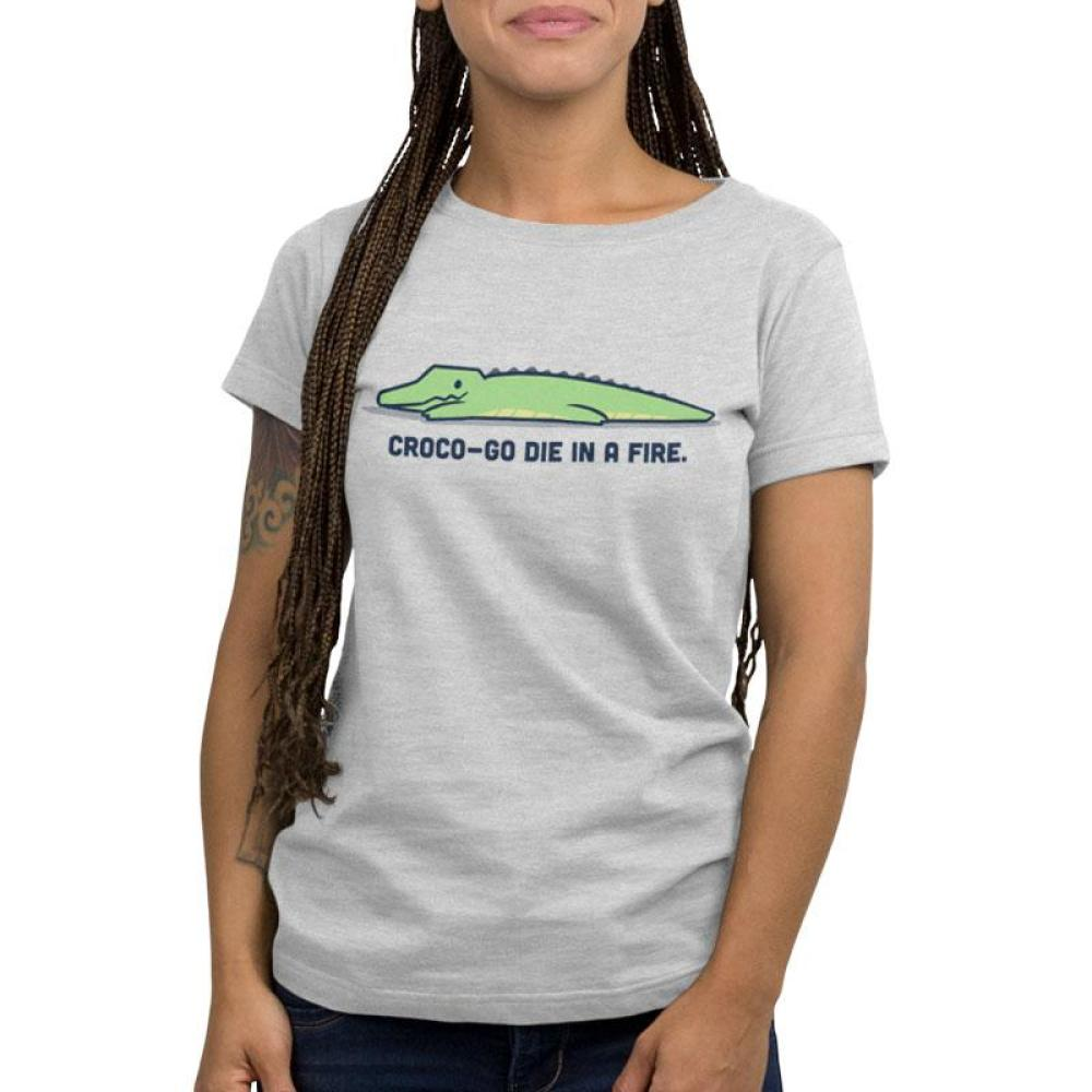 Croco-Go Die in a Fire Women's T-shirt model TeeTurtle gray t-shirt featuring a crocodile with shirt text