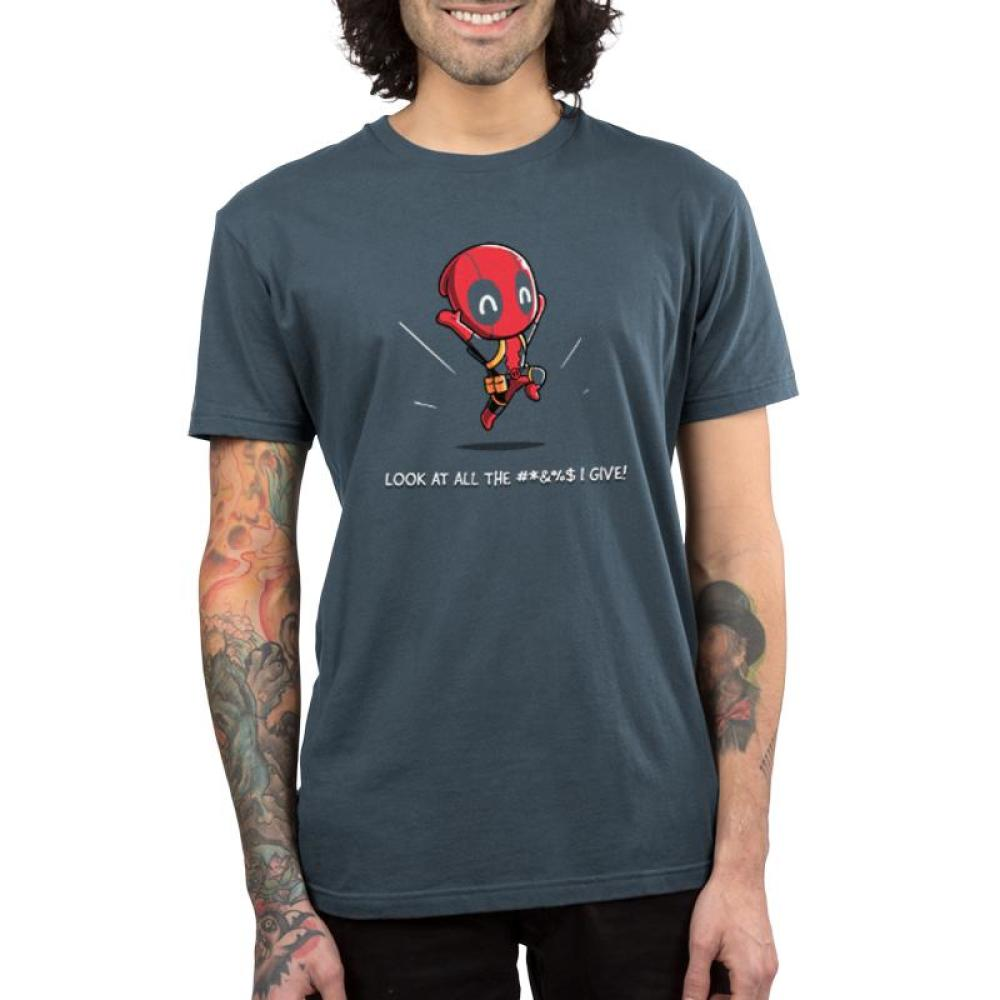 Deadpool Gives Zero #*&%$ Men's T-Shirt Model Marvel TeeTurtle
