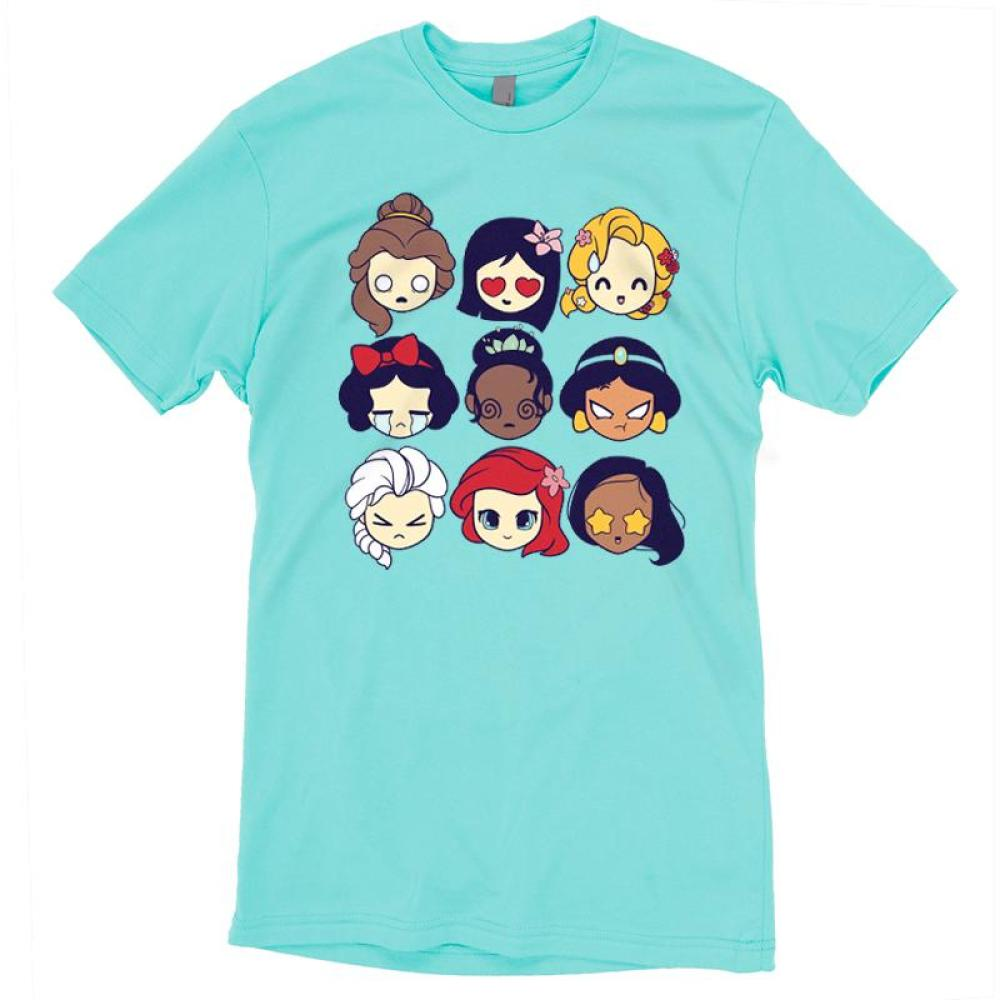 Disney Princess Emojis T-Shirt Disney TeeTurtle blue t-shirt featuring a variety of Disney princesses including belle, mulan, rapunzel, snow white, tiana, jasmine, elsa, ariel and pocahontas