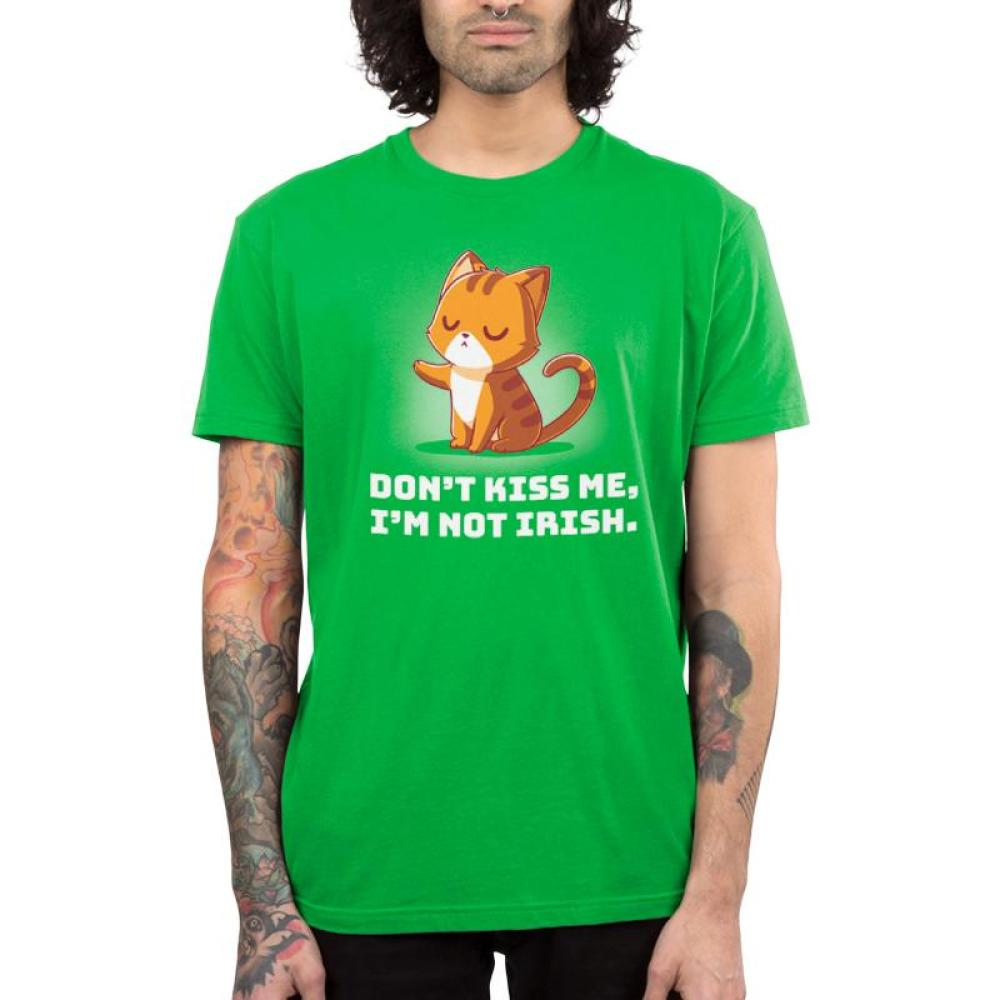 Don't Kiss Me Men's T-shirt Model TeeTurtle green t-shirt featuring an orange cat holding out its paw in a defiant way with shirt text
